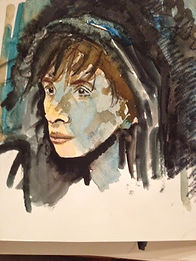Painting of young man reflecting sadly. Artist: Oscar Bråne
