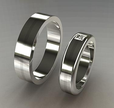 argolla plana, argolla color, oro blanco, 18k, anillo de matrimonio, princess