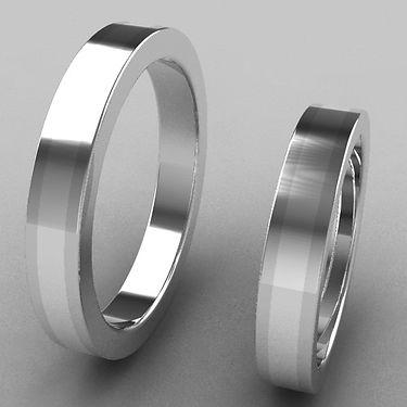 argolla fusion, plata central, argolla bicolor, acero, plata, anillo, anillo de matrimonio