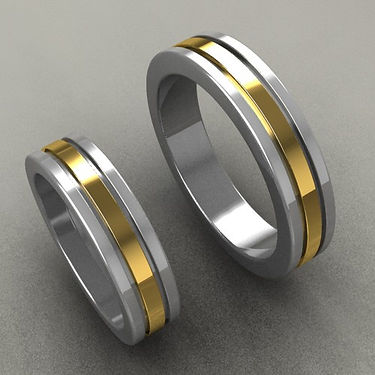 argolla fusion, oro central, argolla bicolor, acero, oro amarillo, 18k, anillo, anillo de matrimonio, lineas de oro