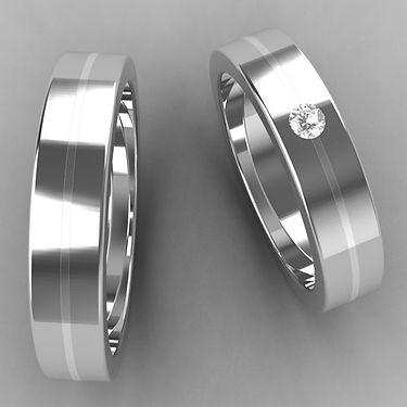 argolla fusion, plata, argolla bicolor, acero, plata, brillante, anillo, anillo de matrimonio