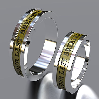argolla fusion, oro, acero, oro amarillo, 18k, anillo, grabado, anillo de matrimonio