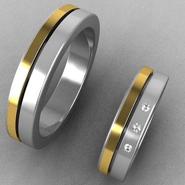 argolla fusion, oro costado, argolla bicolor, acero oro, acero, oro amarillo, brillantes, anillo, anillo de matrimonio