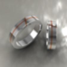 argolla fusion, oro, acero, oro amarillo, 18k, brillante, anillo, anillo de matrimonio, grabado