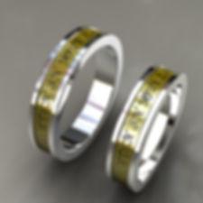 argolla fusion, oro, acero, oro amarillo, 18k, grabado, anillo, anillo de matrimonio