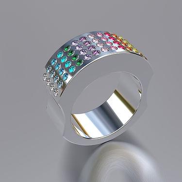 anillos, colores, arcoiris, brillantes, oro blanco, acero, plata