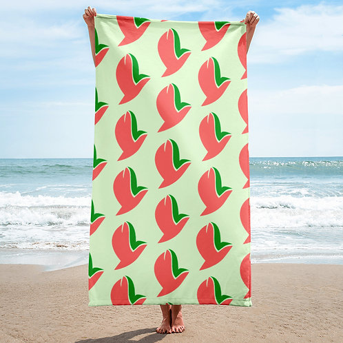 Henergy glowing green bathroom & beach towel