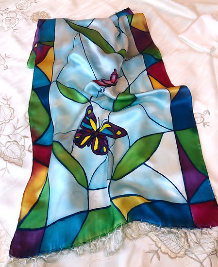 Stained Glass Window Butterflies, hand p