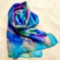 Floaty summer silk scarf hand painted bl