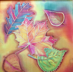 Tatiana Young Silks, Autumn leaves, silk painting,