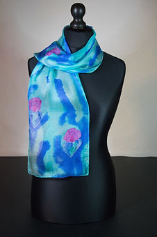 Avatar Flowers silk scarf, hand painted