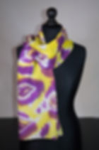 Purple rain silk scarf, hand painted sca