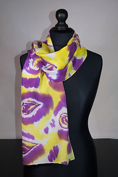 Purple rain silk scarf, hand painted sca