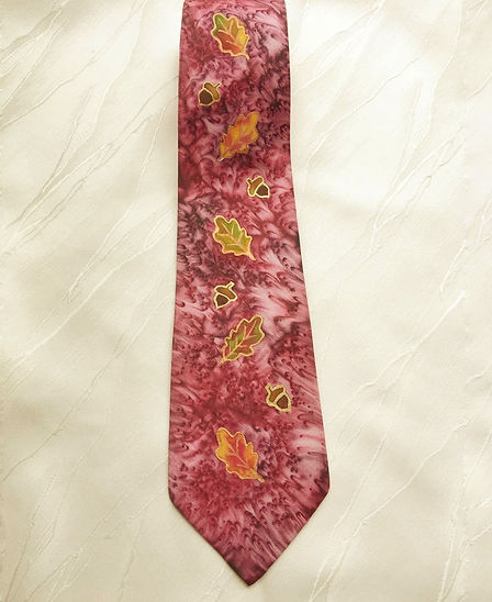"""hand paintd silk tie, """"Autumn oaks"""", original, one off, ideal gift for him, wine red tie, gold leaves, acorns, autumn colours,"""