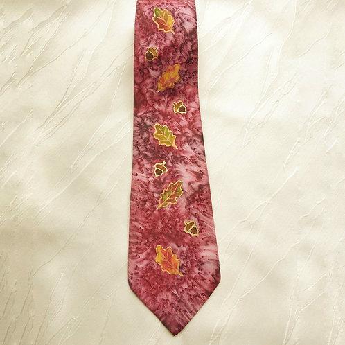 """""""Autumn Oaks"""" hand-painted silk tie"""
