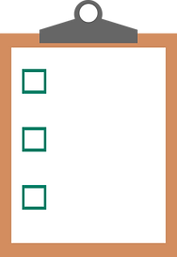 A clipboard with a form with checkboxes