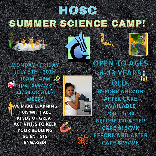 Summer Science Camp Before AND After Care