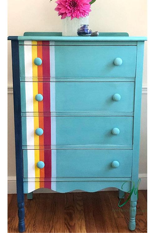 Stripes on Aqua Dreamer Dresser