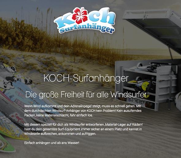 Kreative Website-Texte Webtexte für KOCH Surfanhänger