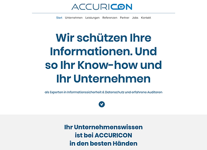 ACCURICON Branding Marktauftritt Website