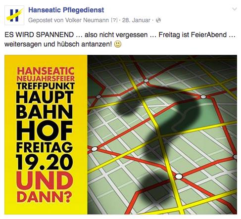 Freier Top Texter Facebook Fanpage Post HANSEATIC PFLEGEDIENST