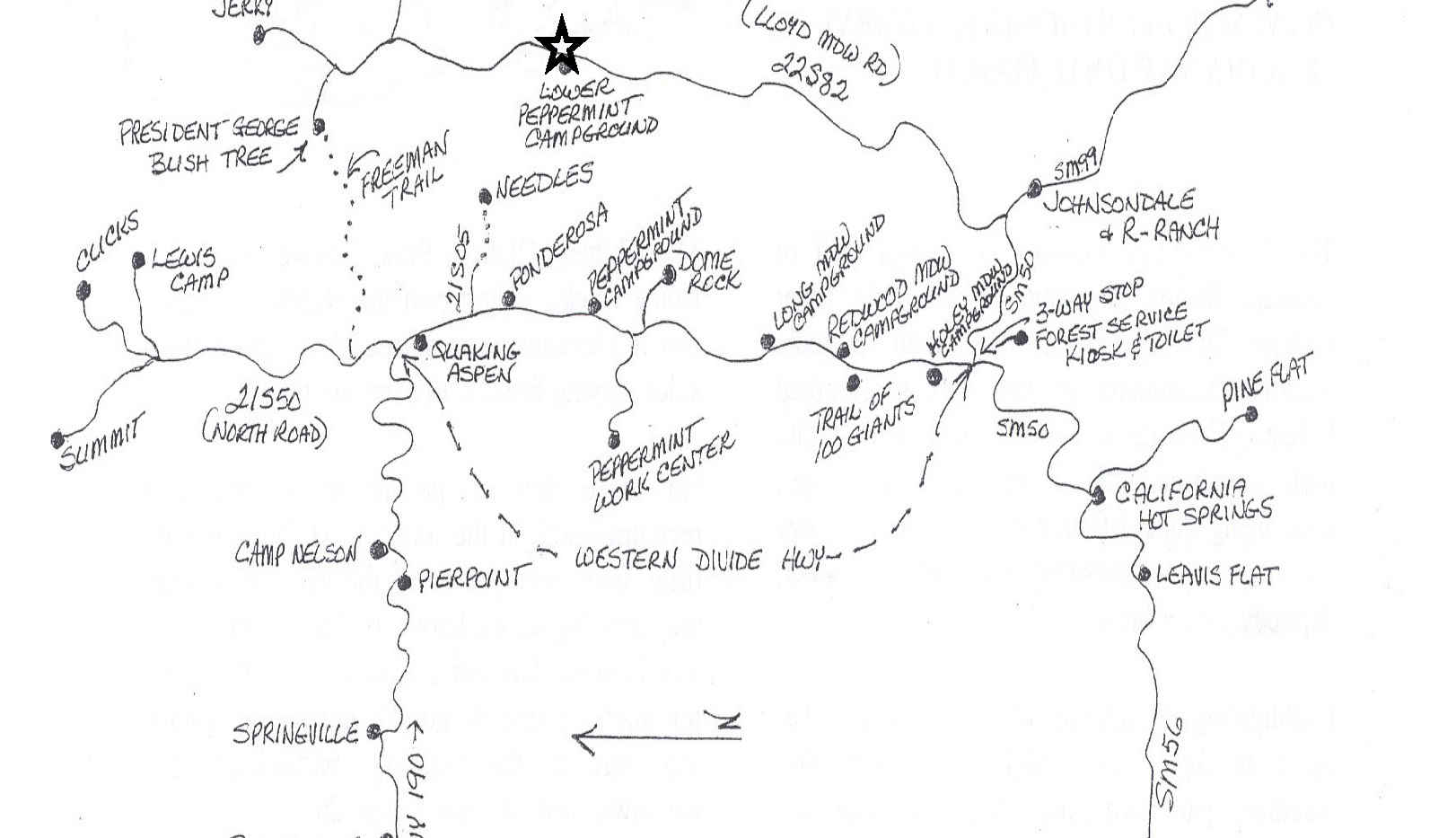 Peppermint Campground and Area Map