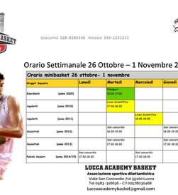 LAB Orario Settimanale 26 Ott - 1 Nov