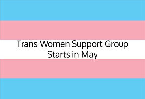Transgender Pride Flag with text about support groups at Across Counseling