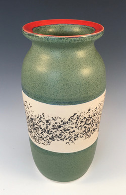 Green Vase with Texture