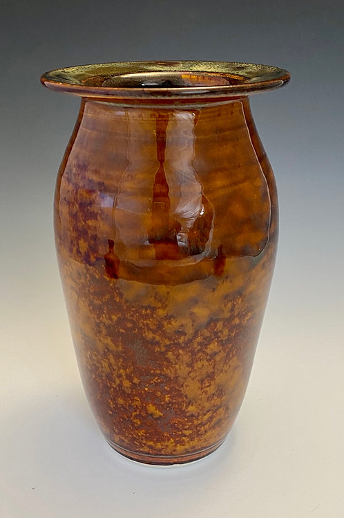 Variegated Vase in Orange and Brown