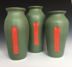 Green with Red Vase