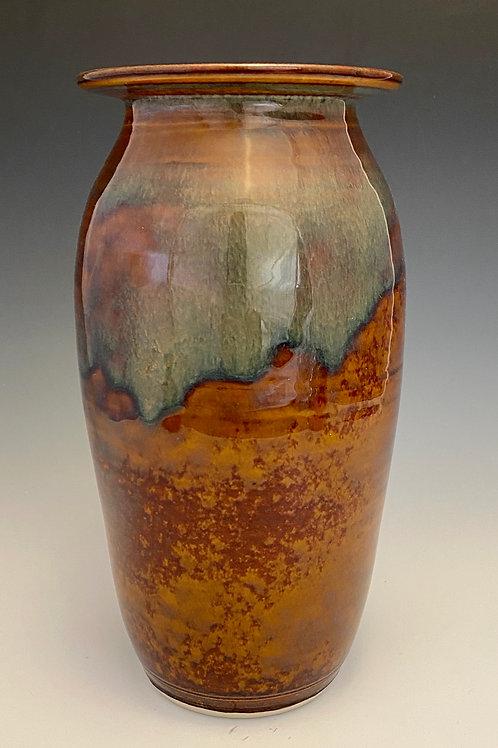 Large Variegated Vase in Brown and Orange