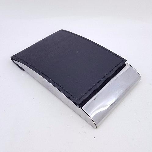 Porta Cartão em Courino Preto e Metal - Ref.015