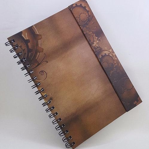 Caderno Capa Dura Articulada - Estampa de Engrenagem