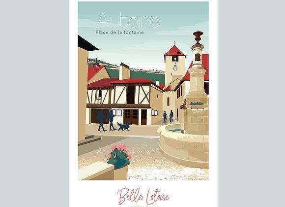 """Carte postale Belle Lotoise Autoire """"Place de la fontaine"""""""