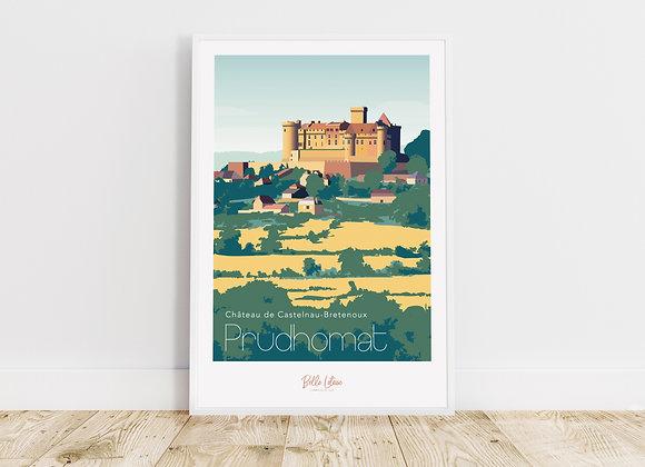 """Affiche Belle Lotoise Prudhomat """"Château de Castelnau-Bretenoux"""""""