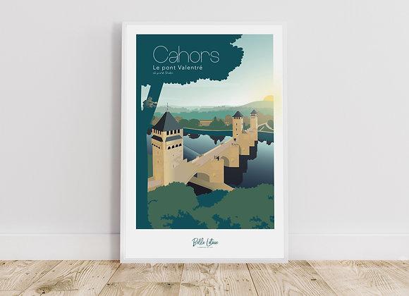 """Affiche Belle Lotoise Cahors """"Le pont Valentré"""""""