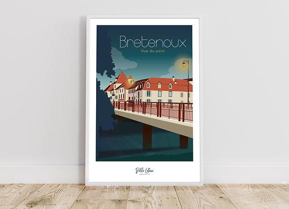 """Affiche Belle Lotoise Bretenoux """"Vue du pont"""""""
