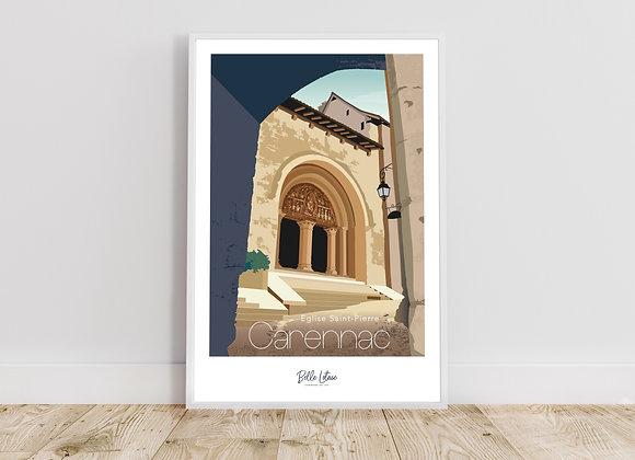"""Affiche Belle Lotoise Carennac """"église Saint Pierre"""""""