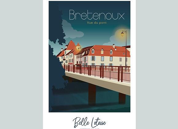 """Carte postale Belle Lotoise Bretenoux """"Vue du pont"""""""