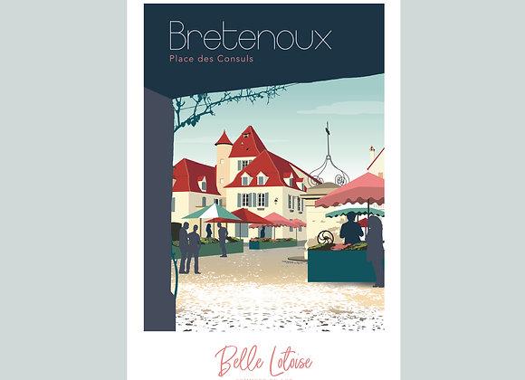 """Carte postale Belle Lotoise Bretenoux """"Place des Consuls"""""""