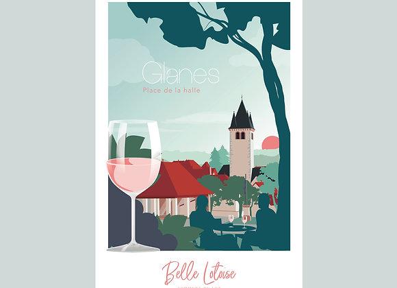 """Carte postale Belle Lotoise Glanes """"Place de la halle"""""""