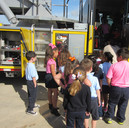 kids always love climbing in the fire trucks!
