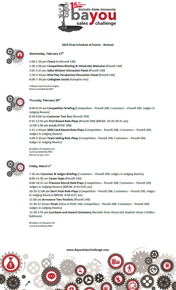 2019 Final Schedule of Events - revised.