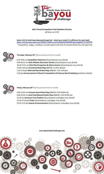 2021 Bayou Sales Challenge_Final Schedul