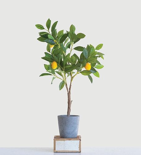 Faux Lemon Tree in Pot