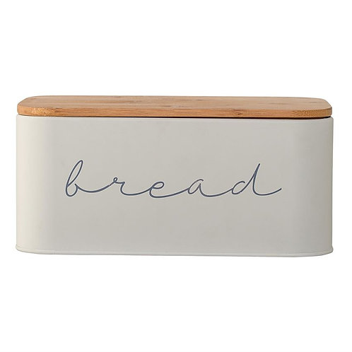 Gray Metal Bread Box with Bamboo Lid