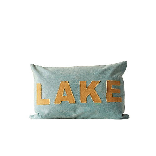 """Green Cotton Canvas Pillow with Brown """"LAKE"""" Lettering"""
