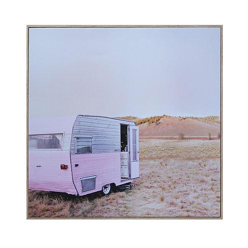 Square Framed Canvas Camper Print
