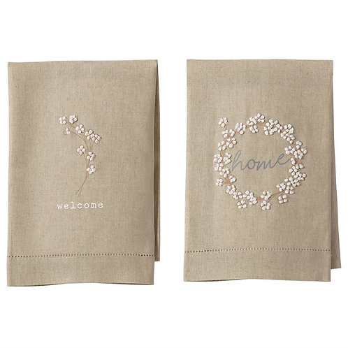 French Knotted Linen Hand Towels
